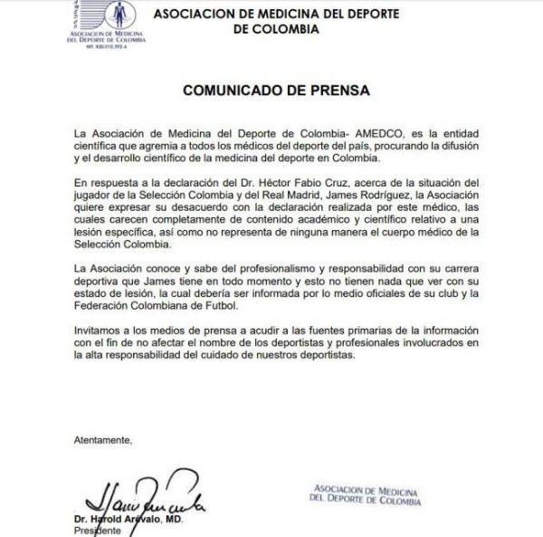La entidad colombiana ha salido en defensa del centrocampista del Real Madrid.
