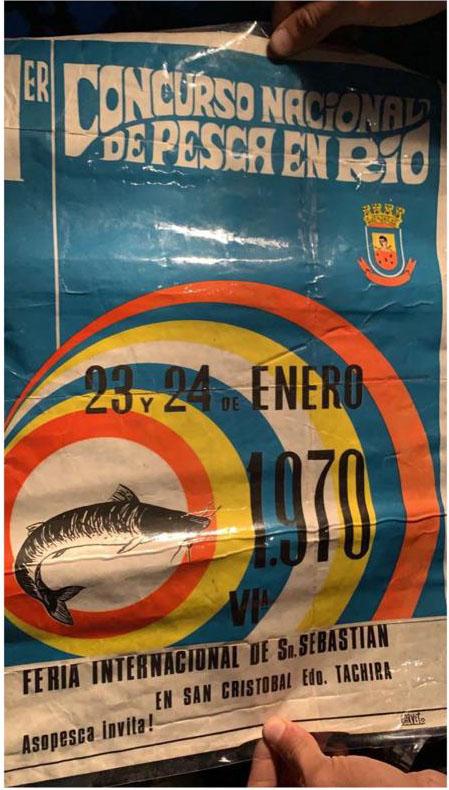 Foto/La Nación- El afiche del 1er Concurso de Pesca en Río, en 1970.