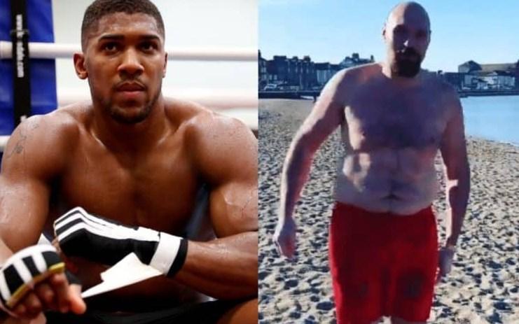 La reacción de Anthony Joshua al video de Tyson Fury fuera de forma física nadando en el mar