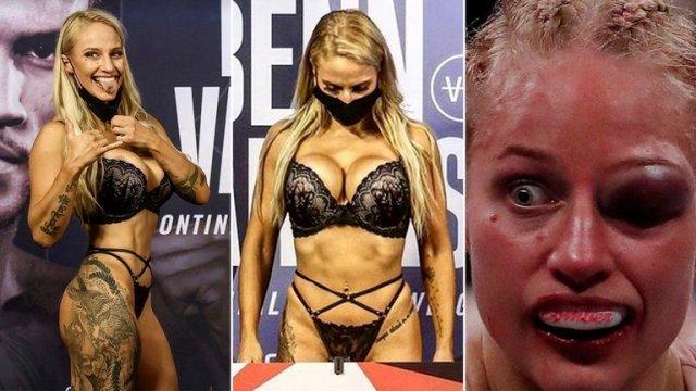 Boxeadora causó polémica por ir en lencería al pesaje y terminar con el rostro desfigurado